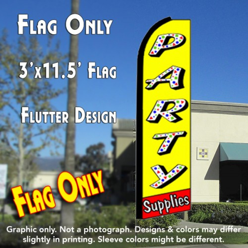 PARTY SUPPLIES (Yellow/Red) Flutter Feather Banner Flag (11.5 x 3 Feet)