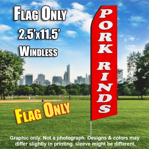 PORK RINDS red white flutter flag