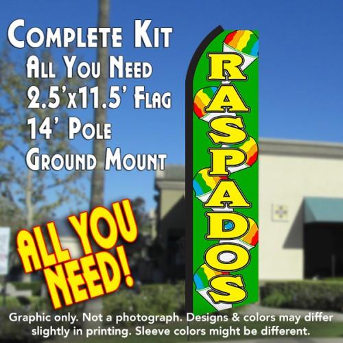 RASPADOS (Green/Yellow) Flutter Feather Banner Flag Kit (Flag, Pole, & Ground Mt)