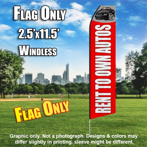 RENT TO OWN AUTO red white flutter flag