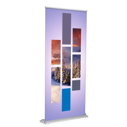"""Banner Stand - SD Retractable 36""""x80"""" (Silver)"""