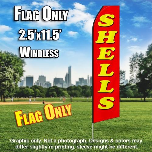 SHELLS red yellow flutter flag