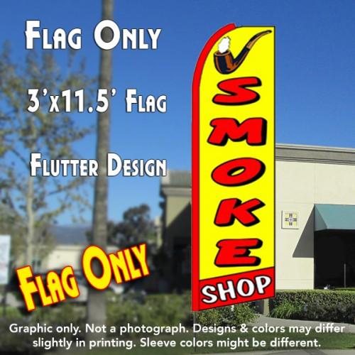 SMOKE SHOP (Yellow/Red) Flutter Feather Banner Flag (11.5 x 3 Feet)
