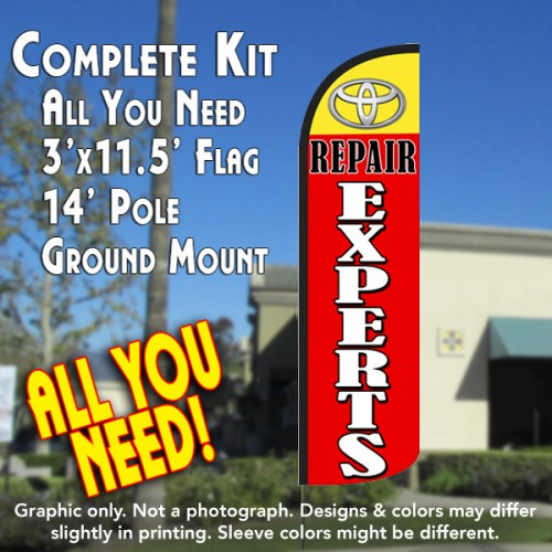 Toyota Repair Experts Windless Feather Banner Flag Kit (Flag, Pole, & Ground Mt)