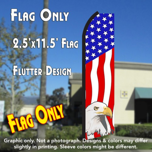 USA AMERICAN EAGLE Flutter Polyknit Feather Flag (11.5 x 2.5 feet)