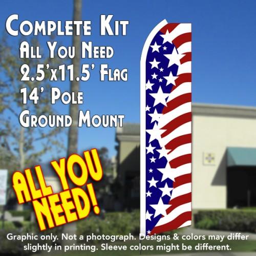 USA AMERICAN STARS Flutter Feather Banner Flag Kit (Flag, Pole, & Ground Mt)