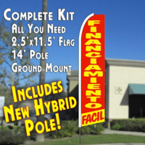 Financiamiento Facil  Feather Banner Flag Kit (Flag, Pole, & Ground Mt)
