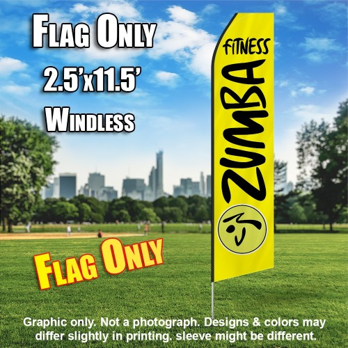 ZUMBA FITNESS yellow black flutter flag