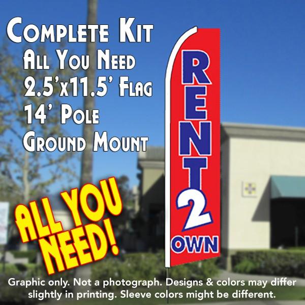 Rent 2 Own Red Flutter Feather Banner Flag Kit Flag Pole Ground Mt Overnight Grafix