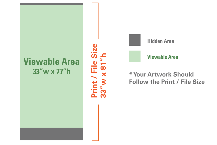standard retractable banner stand 33 x81 stand insert overnight grafix. Black Bedroom Furniture Sets. Home Design Ideas
