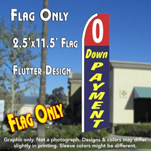 0 DOWN PAYMENT (Red/Blue) Flutter Feather Banner Flag (11.5 x 2.5 Feet)
