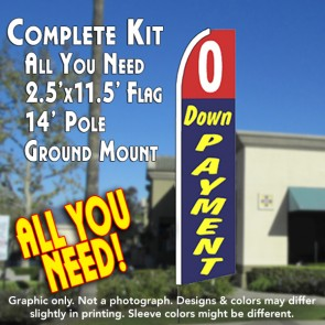 0 DOWN PAYMENT (Red/Blue) Flutter Feather Banner Flag Kit (Flag, Pole, & Ground Mt)