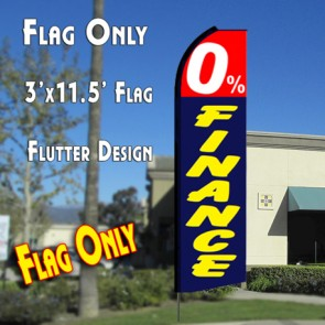 0% FINANCE (Red/Blue) Flutter Feather Banner Flag (11.5 x 3 Feet)