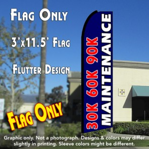 30K 60K 90K MAINTENANCE (Blue) Flutter Feather Banner Flag (11.5 x 3 Feet)