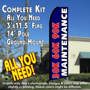 30K 60K 90K MAINTENANCE (Blue) Flutter Feather Banner Flag Kit (Flag, Pole, & Ground Mt)