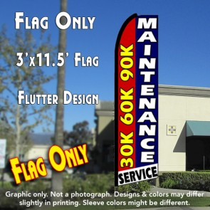 30K 60K 90K MAINTENANCE SERVICE Flutter Feather Banner Flag (11.5 x 3 Feet)