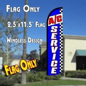 A/C SERVICE (Blue/Checkered) Windless Polyknit Feather Flag (2.5 x 11.5 feet)