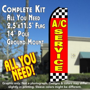 A/C SERVICE (Red/Checkered) Flutter Feather Banner Flag Kit (Flag, Pole, & Ground Mt)