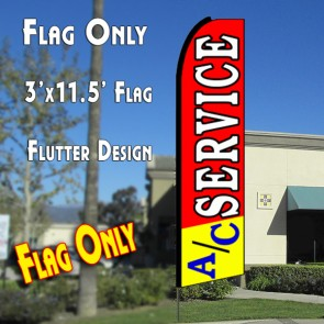 A/C SERVICE (Red/Yellow) Flutter Feather Banner Flag (11.5 x 3 Feet)
