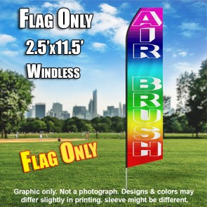AIR BRUSH rainbow colored white flutter flag