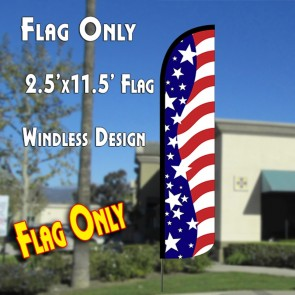 USA AMERICAN BEAUTY Windless Polyknit Feather Flag (2.5 x 11.5 feet)
