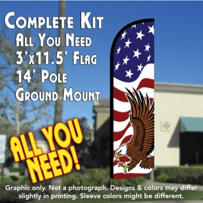 AMERICAN GLORY (Eagle) Windless Feather Banner Flag Kit (Flag, Pole, & Ground Mt)