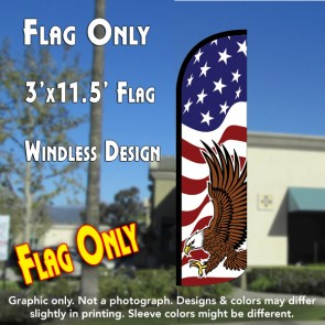 AMERICAN GLORY (Eagle) Windless Polyknit Feather Flag (3 x 11.5 feet)