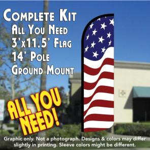 AMERICAN GLORY Windless Feather Banner Flag Kit (Flag, Pole, & Ground Mt)