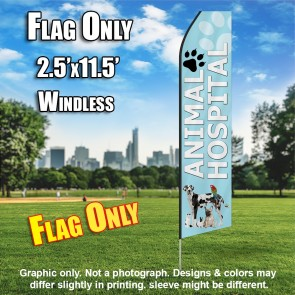 ANIMAL HOSPITAL light blue feather flags econo banner swooper