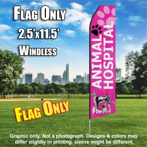 ANIMAL HOSPITAL pink feather flags econo banner swooper