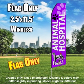 ANIMAL HOSPITAL purple feather flags econo banner swooper