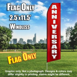 ANNIVERSARY red white flutter flag