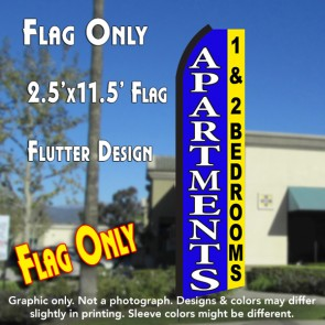 APARTMENTS 1 & 2 BEDROOMS (Blue/Yellow) Flutter Polyknit Feather Flag (11.5 x 2.5 feet)