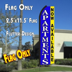 APARTMENTS NOW AVAILABLE (Blue/Yellow) Flutter Polyknit Feather Flag (11.5 x 2.5 feet)