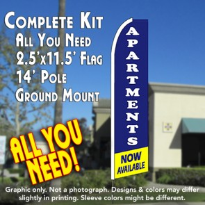 APARTMENTS NOW AVAILABLE (Blue/Yellow) Flutter Feather Banner Flag Kit (Flag, Pole, & Ground Mt)