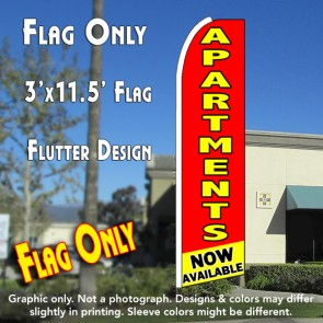 APARTMENTS NOW AVAILABLE (Red/Yellow) Flutter Feather Banner Flag (11.5 x 3 Feet)