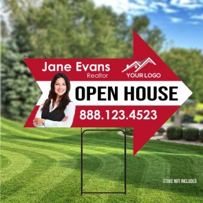 "Custom Digital Full color Arrow #2 24"" x 18"" Yard Signs Open house"