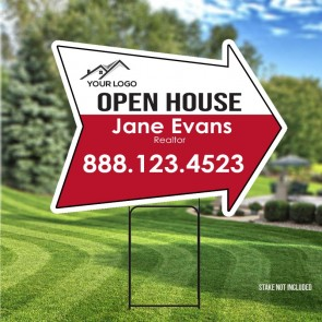"Custom Digital Full color Arrow 24"" x 18"" Yard Signs Open House"