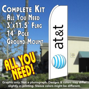 AT&T Flutter Feather Banner Flag Kit (Flag, Pole, and Ground Mount)