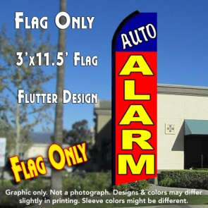 AUTO ALARM (Blue/Red) Flutter Feather Banner Flag (11.5 x 3 Feet)
