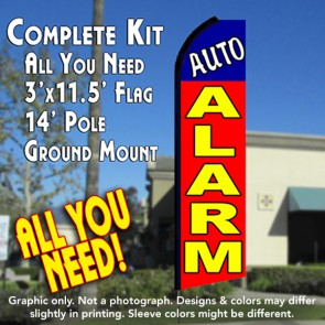 AUTO ALARM (Blue/Red) Flutter Feather Banner Flag Kit (Flag, Pole, & Ground Mt)
