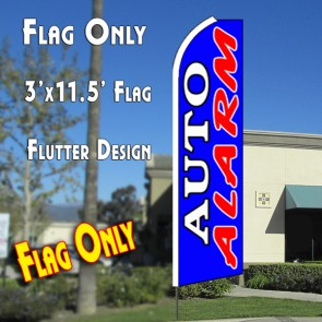 AUTO ALARM (Dark Blue) Flutter Feather Banner Flag (11.5 x 3 Feet)