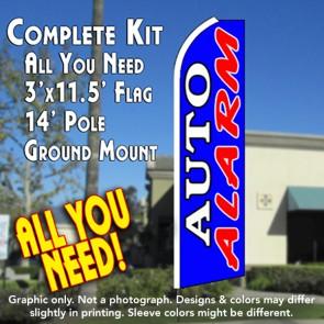 AUTO ALARM (Dark Blue) Flutter Feather Banner Flag Kit (Flag, Pole, & Ground Mt)