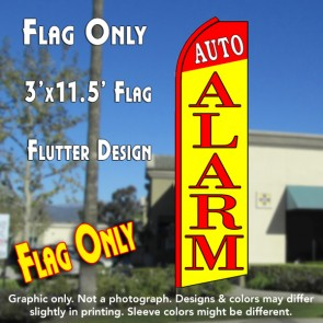 AUTO ALARM (Red/Yellow) Flutter Feather Banner Flag (11.5 x 3 Feet)