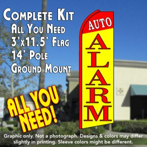 AUTO ALARM (Red/Yellow) Flutter Feather Banner Flag Kit (Flag, Pole, & Ground Mt)