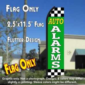 AUTO ALARMS (Green/Checkered) Flutter Polyknit Feather Flag (11.5 x 2.5 feet)