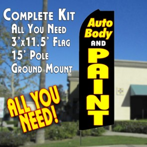 AUTO BODY AND PAINT (Black) Flutter Feather Banner Flag Kit (Flag, Pole, & Ground Mt)