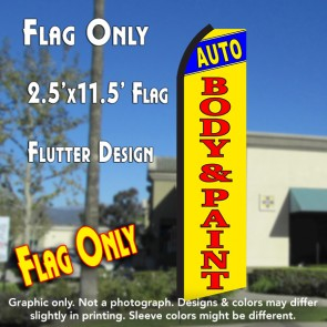 AUTO BODY & PAINT (Blue/Yellow) Flutter Polyknit Feather Flag (11.5 x 2.5 feet)