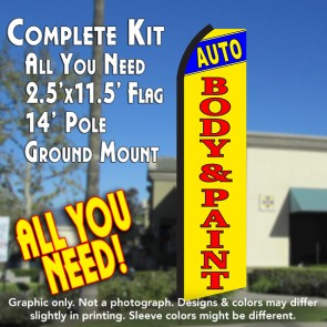 AUTO BODY & PAINT (Blue/Yellow) Flutter Feather Banner Flag Kit (Flag, Pole, & Ground Mt)