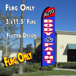 AUTO BODY & PAINT (Red/Blue) Flutter Feather Banner Flag (11.5 x 3 Feet)